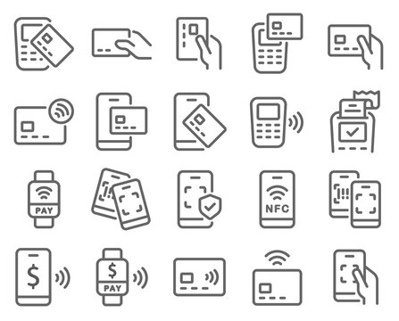 Contactless cashless society icon set vector illustration. Contains such icon as Scan QR code, NFC, Credit Card, Barcode, POS, Security Protection, and more. Expanded Stroke