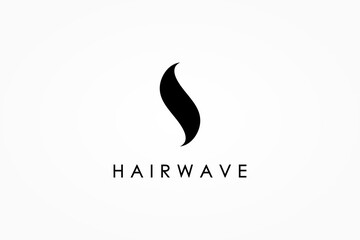 Abstract Black Hair Wave Logo Letter S isolated on White Background. Flat Vector Logo Design Template Element