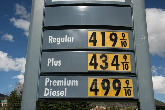 Gas Price Sky High - Regular Gas over 4.00 a Gallon