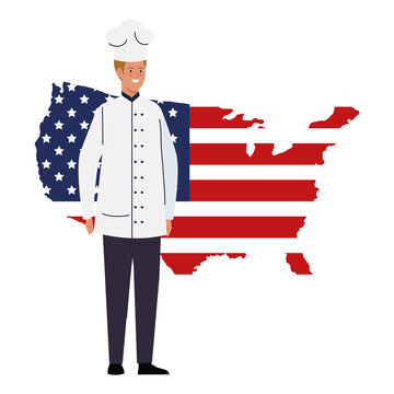 chef man with usa flag map design, Labor day holiday and patriotic theme Vector illustration