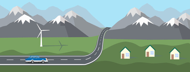 Photo sur Plexiglas Olive Landscape with a blue car. The car rides along the road in the hills, against the backdrop of mountain, houses and windmill. Mountain landscape. vector