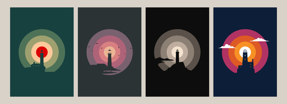 Lighthouse Silhouettes Original Poster Set, Old Beacons, Vintage Color Combinations