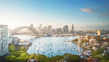 Fototapete - sunrise,  Sydney harbor, New South Wales, Australia
