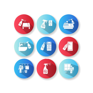 Decontamination flat design long shadow glyph icons set. Professional sanitary service, house cleansing. Sterilization with antibacterial disinfectants. Silhouette RGB color illustrations