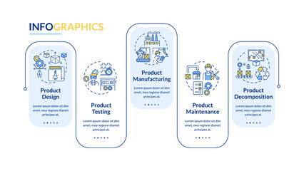 Product maintenance vector infographic template. Technology development presentation design elements. Data visualization with 5 steps. Process timeline chart. Workflow layout with linear icons