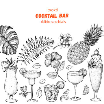 Alcoholic cocktails hand drawn vector illustration. Cocktails sketch set. Engraved style. Tropical collection. Summer time.