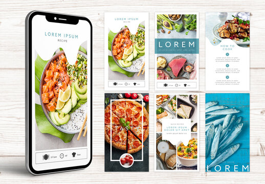 Food Lovers Social Media Stories Kit Layout