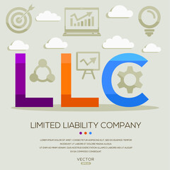 LLC mean (limited liability company) ,letters and icons,Vector illustration.
