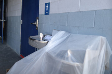 A covered water fountain is seen during summer break renovations and installation of social distancing measures at St. Joseph's School, amid the outbreak of the coronavirus disease (COVID-19), in La Puente, near Los Angeles