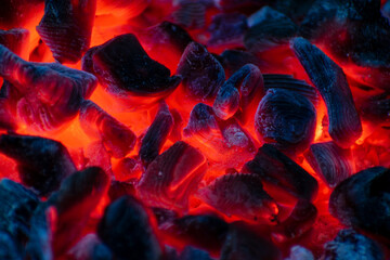Poster Firewood texture Burning Coals in Campfire