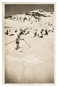 Vintage photo skiing man in snow antique picture