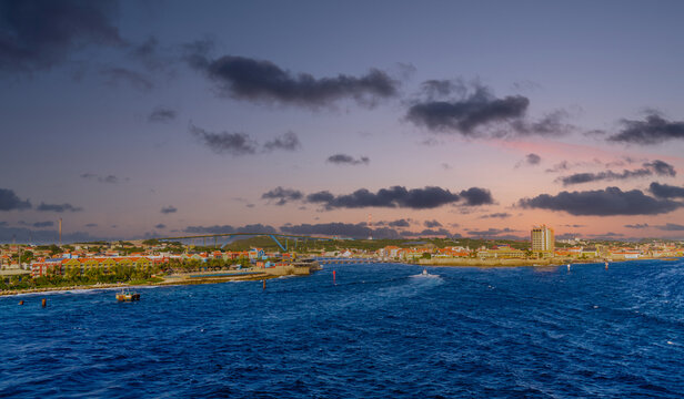 The city of Willemstad Curacao from the Sea
