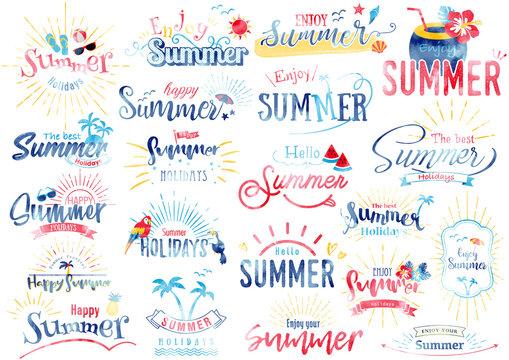 トロピカル夏のタイトル文字 水彩風
