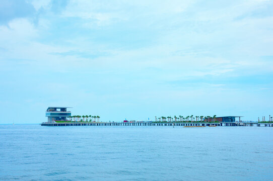 The new $92 million dollar St. Pete Pier in Saint Petersburg, Florida, during its grand opening weekend in July 2020 on a summer evening with soft light.