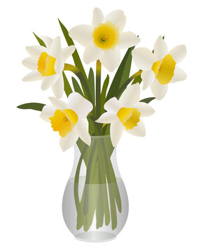 Bouquet of Daffodils in Glass Vase