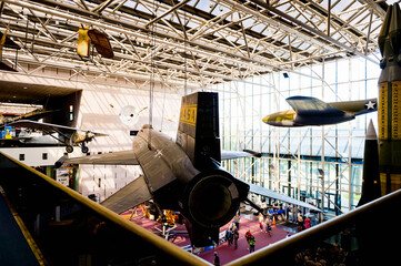 WASHINGTON, USA - SEP 24, 2015: Interior of the National Air and Space Museum (NASM). It was established in 1946 as the National Air Museum