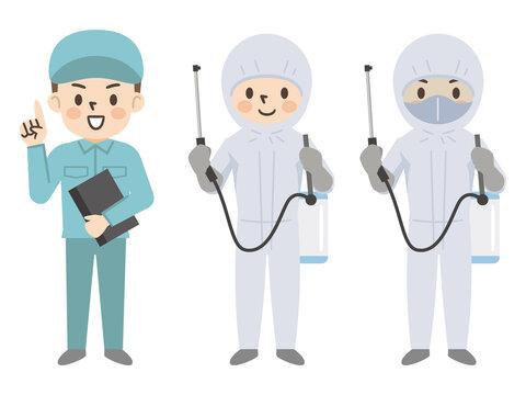 害虫駆除業者と防護服を着た人