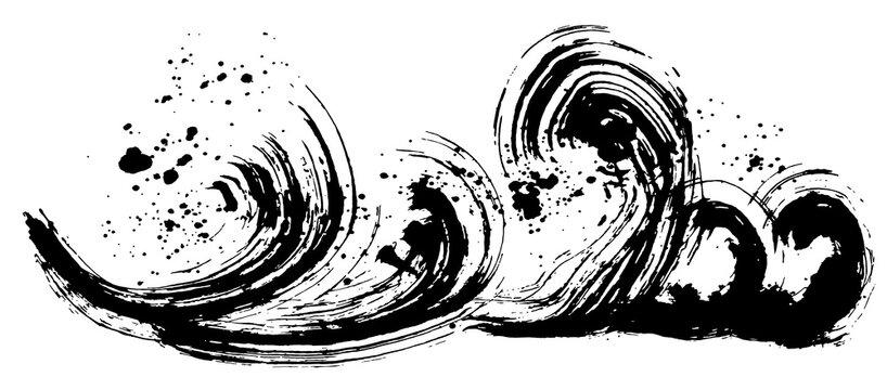 波 波しぶき 手書き 毛筆イラスト