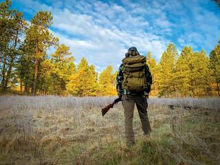 Man turkey hunting in Montana
