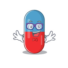 Wall Mural - A caricature drawing of nerd pills drug wearing weird glasses