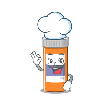 Pills drug bottle chef cartoon drawing style wearing iconic chef hat