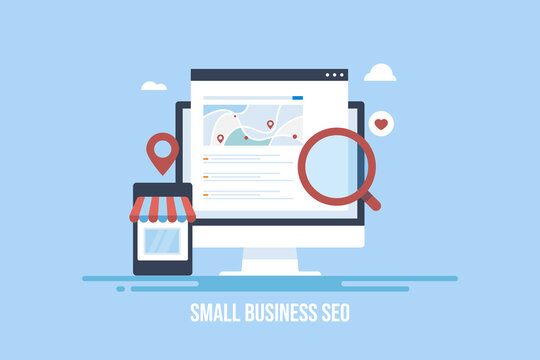 Smart seo solution for local store and small business. Find small business near me via mobile phone, website showing local shop map, local seo concept. Digital marketing and technology.