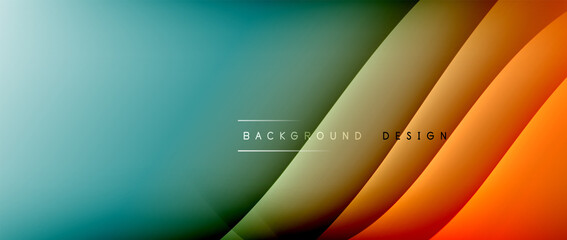 Fluid gradient waves with shadow lines and glowing light effect, modern flowing motion abstract background for cover, placards, poster, banner or flyer