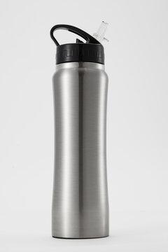 Full length grey aluminium waterbottle. Isolated on white background.