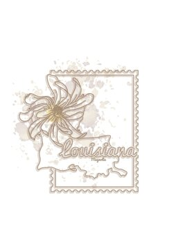 louisiana map with flower