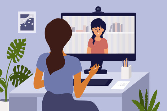 Video call with psychologist through computer by web cam. Psychotherapy online from home. Sad girl talking to female doctor. Psychology internet session, health care, mental issue vector illustration