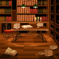 Ancient room with bookcase. Vector illustration