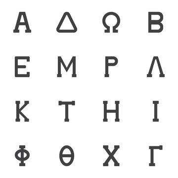 Greek symbols vector icons set, modern solid symbol collection, filled style pictogram pack. Signs, logo illustration. Set includes icons as alphabet letters Alpha, Delta, Omega, Beta, Epsilon, Lambda
