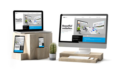 Wall Mural - wooden cubes devices isolated responsive builder website