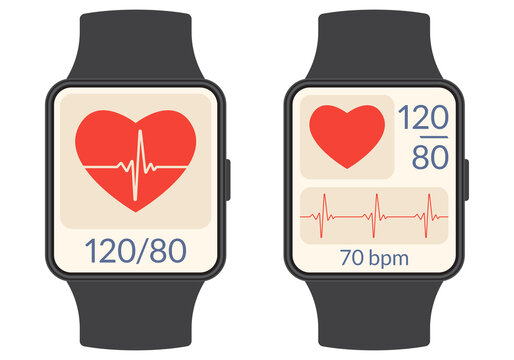 Smart watch with heartbeat rate or pulse tracker app and blood pressure monitor. Fitness application deign for smartwatch. Health care check with Heart beat line and Pulse trace. Vector illustration.
