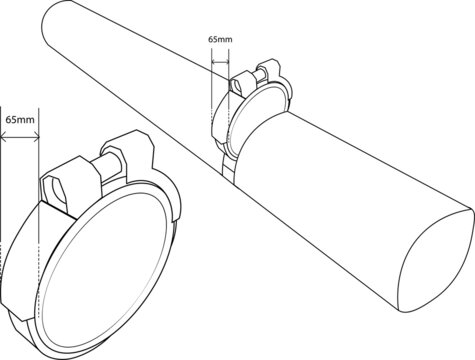 Image detailing the measurement of the Non-return valve and non-return valve halfway slotted in between the drain pipe Measurement is 65mm