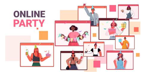 people in festive hats celebrating online birthday party mix race men women in computer windows having fun celebration self isolation virtual meeting concept portrait horizontal vector illustration