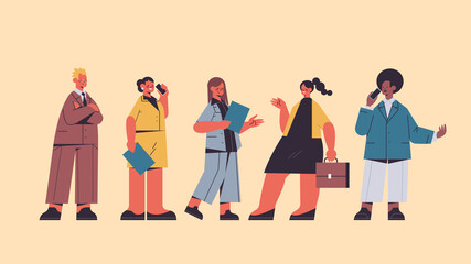 Wall Mural - set businesspeople holding folder mix race business people team office workers in casual clothes male female cartoon characters collection full length horizontal vector illustration