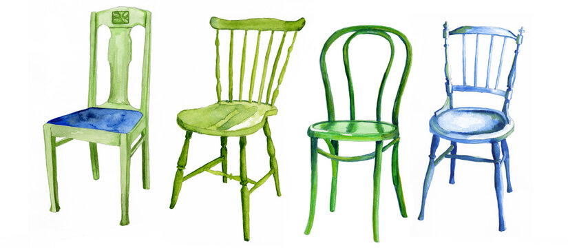 Green and blue wooden chairs painted in watercolour