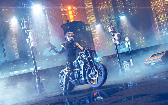 Cyberpunk rider on a cyber motorbike in a futuristic night city with neon light and fog - concept art - 3D rendering