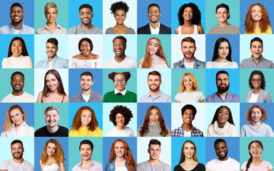 Composite Picture Of Diverse People Expressing Happiness Over Blue Backgrounds