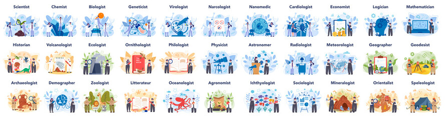 Scientist concept set. Idea of education and innovation. Biology, chemistry