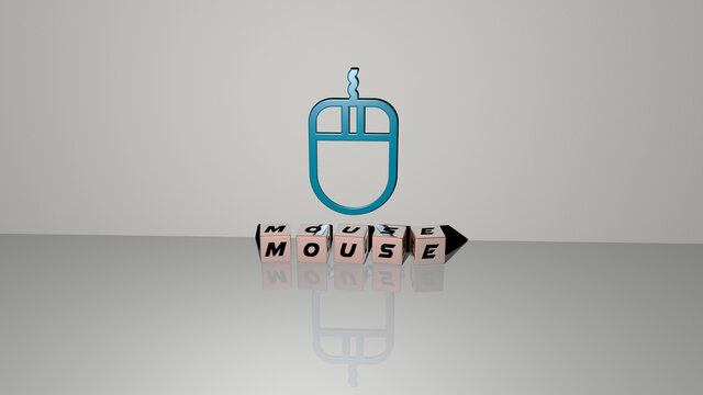 3D representation of mouse with icon on the wall and text arranged by metallic cubic letters on a mirror floor for concept meaning and slideshow presentation. illustration and background