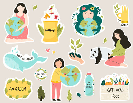Set of colorful stickers with eco friendly slogans and illustrations. Composting, Trees planting, Eating local food, Bring your own bag concepts. Vector illustration