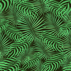 Tropical pattern seamless background. Palm leaves, modern seamless summer tropic art. Colorful trendy natural botanic print for decoration fabric,fashion textile. Palm tree leaf.Vector tropics botany.
