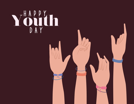 hands up of happy youth day design, Young holiday and friendship theme Vector illustration