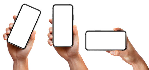 Man hand holding the black smartphone with blank screen and modern frameless design three positions angled, vertical and horizontal - isolated on white background