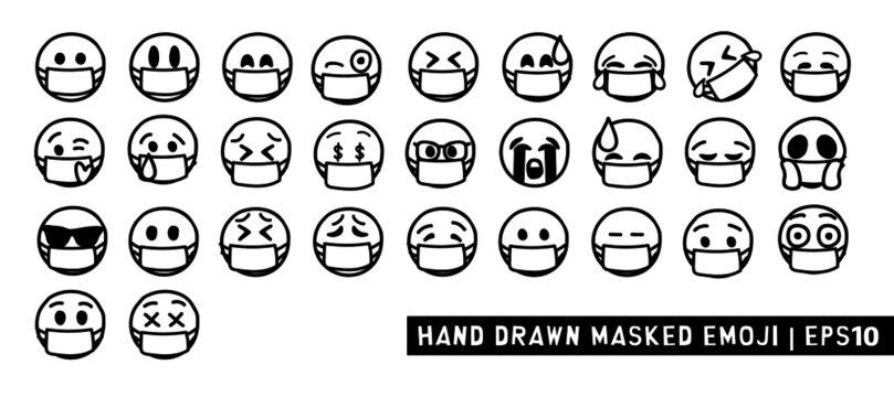 Mask Hand Drawn Emoji. Black and White Design. Line drawing emoticon. Emoji wearing mask