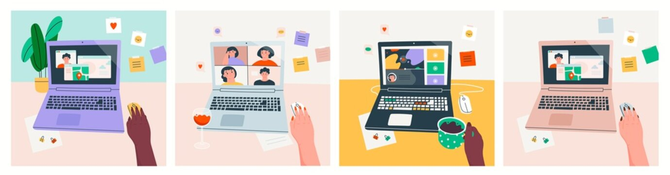 Set of three cards. Workplace, working desk. Point of view on Laptop screen. Virtual chat, online video-sharing platform, maps, various apps. Web Entertainment concept. Hand drawn Vector illustrations