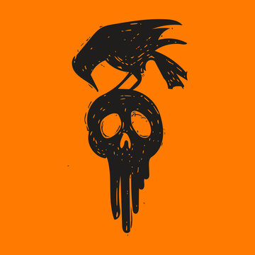 Hand drawn illustration of a black crow sitting on top of a melting human skull.