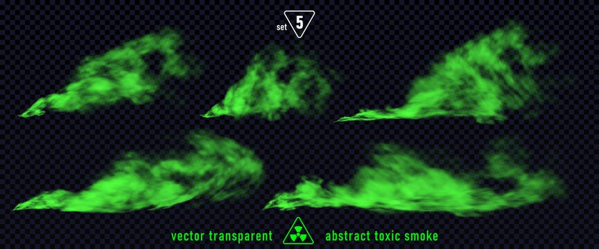 Green smoke set 5 isolated on transparent background. Magic mist cloud, chemical toxic gas, steam waves, realistic set of green bad smell. Realistic illustration. Vector.
